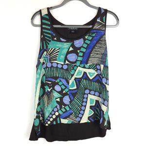 August Silk | Geometric Abstract Print Blouse